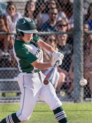 El Diamante's Zach Lyons makes the game-winning hit to drive in the first run against Sanger in a Central Section Division II semifinal baseball game on Tuesday, May 22, 2018.
