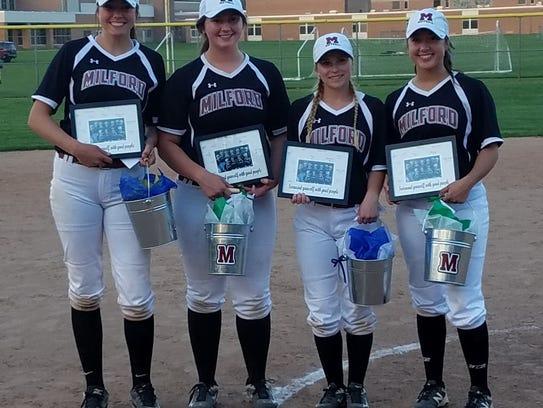 Milford seniors Olivia Seestadt, Paige Grass, Jayne