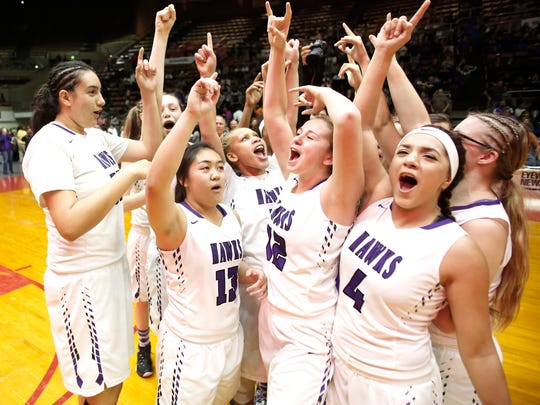 From left to right, Mission Oak's Sam Arellano, Jocelyn Ngo, Kambryia Elzy, Skylar Eanes and Jenyfer Huerta celebrate at midcourt after beating  Madera during their Girls Division III Central Section Championship game at Selland Arena in Fresno, Calif., Saturday, March 5, 2016.