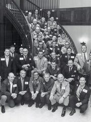Members of the 1951 University of Tennessee national championship football team during their 1972 reunion. Pictured are: 1. John Powell. 2. Earl Campbell. 3. Bob Davis. 4. Mack Franklin. 5. Roger Vest . 6. Jimmy Hahn. 7. Stan Lis. 8. Andy Myers. 9 Francis Holohan. 10. Andy Kozar. 11. Gordon Polofsky. 12. Boomer Boring. 13. Jim Haslam. 14. Hank Lauricella. 15. Frank Alexander. 16. Oka Williams. 17. Doug Atkins. 18. Colin Murro. 19. Ollie Keller. 20. Bill Blackstock. 21. Bob Cloninger. 22. Bill Jasper. 23. Lawrence Crowson. 24. Bill Barbish. 25. Charlie Stokes. 26. Wayne Watson. 27. Pat Shires. 28. Hugh Garner. 29. Billy Jack Cunningham. 30. Bill Fulton. 31. Bill Addonizzio. 32. Jimmy Wade. (KNS Archive)