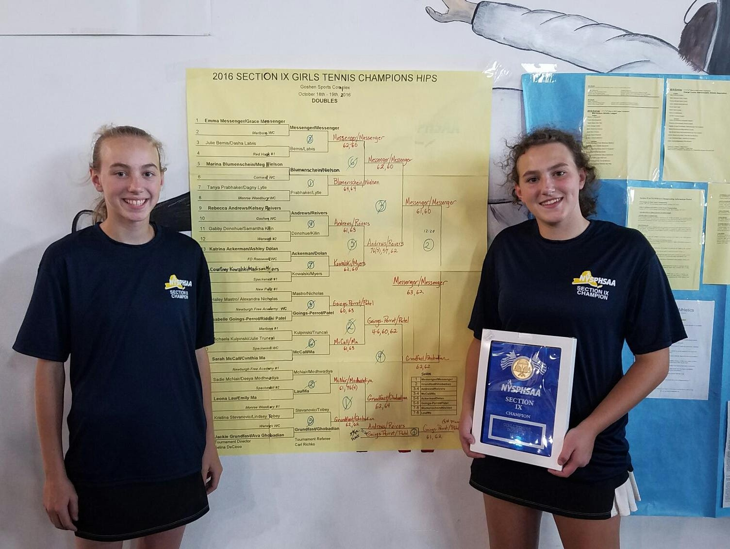 Emma Messenger and Grace Messenger pose after winning the Section 9 girls tennis doubles title on Wednesday.
