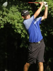Ontario's Jake Gleason watches his drive during this