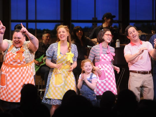 """(L-R) Actors Keala Settle; Jessie Mueller; Kimiko Glenn attend """"Waitress"""" Broadway opening night curtain call at the Brooks Atkinson Theatre on April 24, 2016 in New York City."""