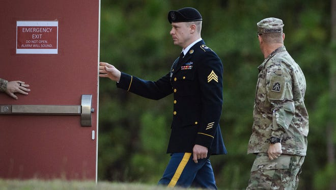 Army Sgt. Bowe Bergdahl arrives at the Fort Bragg courtroom facility for a sentencing hearing on Oct. 31, 2017, on Fort Bragg, N.C. Bergdahl, who walked off his base in Afghanistan in 2009 and was held by the Taliban for five years, pleaded guilty to desertion and misbehavior before the enemy.