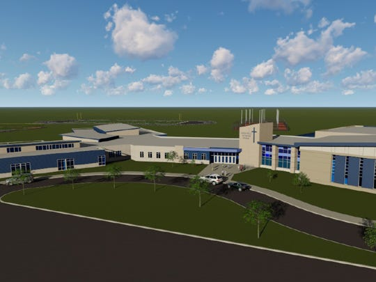 An artist rendering of the outside of the new Sioux