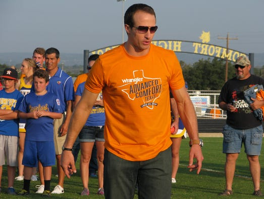 As part of anendorsement deal with Wrangler, Saints QB Drew Brees served as the honorary mayor of Comfort, Texas, July 23.