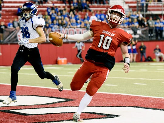 Gregory quarterback Andrew McCance (10) runs untouched into the end zone for a touchdown during the first half of the Class 9AA football state championship game on Nov. 9, 2017 in Vermillion, S.D..