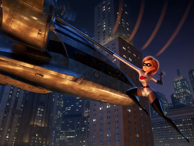 Elastigirl (voiced by Holly Hunter) returns to action