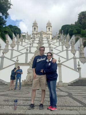 Chris Guyor and his wife, Christtina Mauad, were photographed by Chris' son Matt at the Escadaria do Bom Jesus, a baroque staircase in front of the church of Bom Jesus do Monte in Braga, Portugal. The Huntington Woods family was there in July 2017 on vacation.