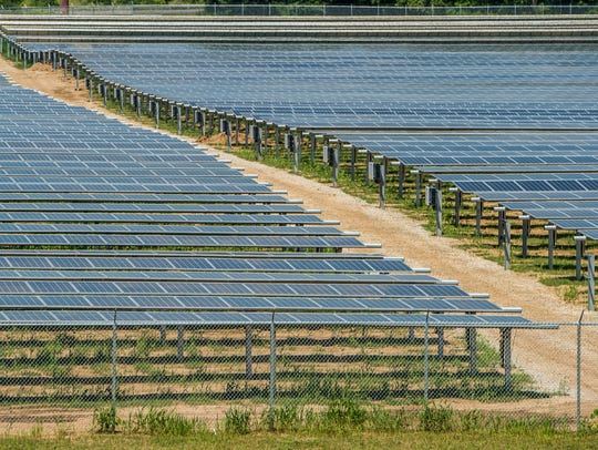 Rows of solar panels are seen at an Indiana Municipal