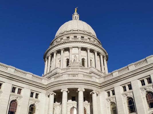 Wisconsin state Capitol on clear blue sunny day