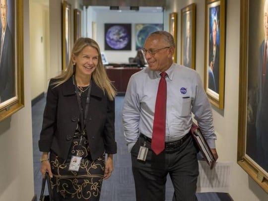 NASA Deputy Administrator Dava Newman walks to a meeting
