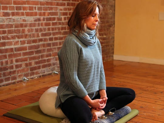 Mary Guip, R.N., teaches a Mindfulness-based stress