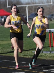 Grace Maurer takes the baton for the anchor leg of the winning 4x800, kick-starting Ontario to a repeat team championship in the Crestview Invitational.