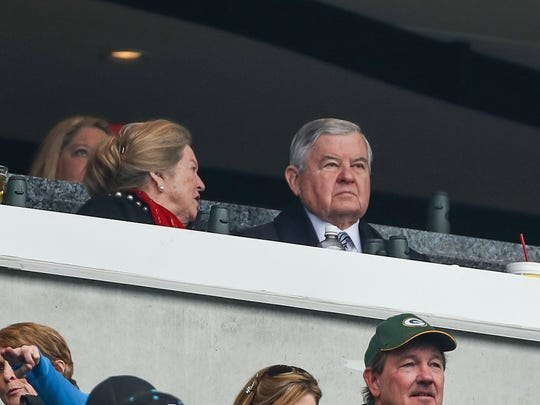 Panthers owner Jerry Richardson watches his team play
