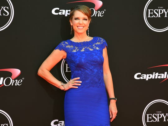 Hannah Storm arrives for the 2017 ESPYs at Microsoft Theater.