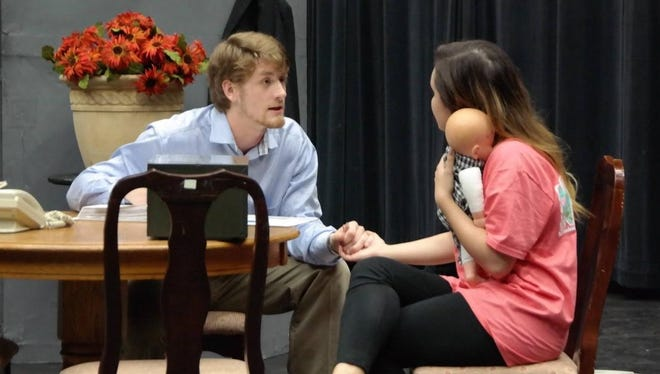 """Walter Wykes' """"The Worker"""" is one of the five plays to be performed as part of the 2017 Midwestern State University Festival of Student-Produced One-Act Plays at the Fain Fine Arts Studio Theatre at MSU. The play is directed by Rachel Innes and features Jacob Turnbow as Man and Ilka McGee as Woman."""