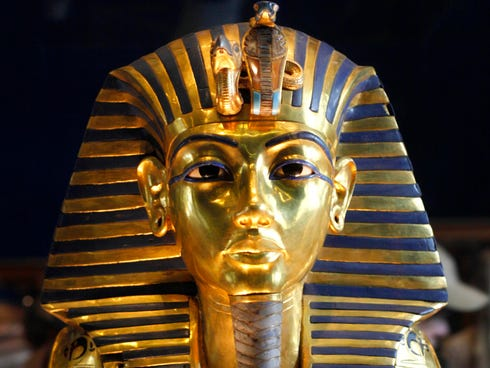 The golden mask of Egypt's famous King Tutankhamun is displayed at the Egyptian museum in Cairo, Egypt. in 2010.