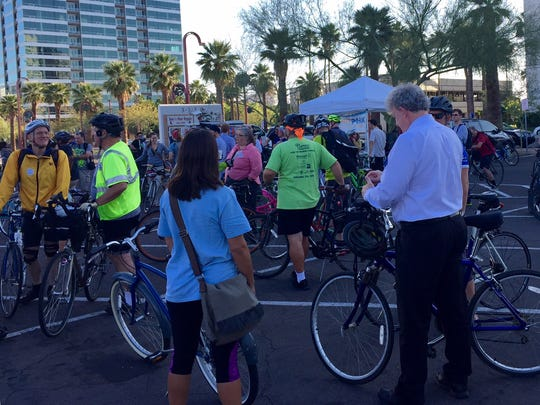 Bicyclists gather at Park Central Mall for Phoenix Bike to Work Day.