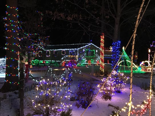 outdoor xmas lighting. Home Of The Nowak Family, 3317 State 73 N., Wisconsin Outdoor Xmas Lighting