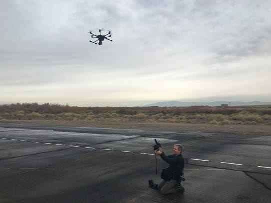 Shooting with a drone in the Las Vegas desert