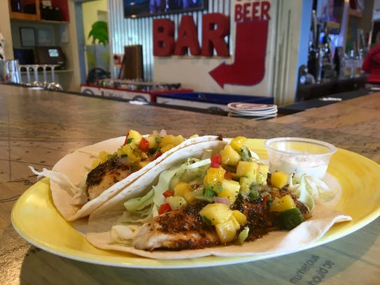 Blackened mullet tacos from Blue Dog Bar & Grill on Matlacha.