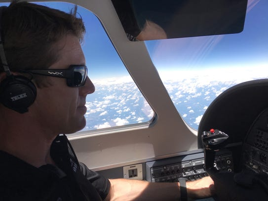 Carl Edwards piloting his Cessna on June 7.