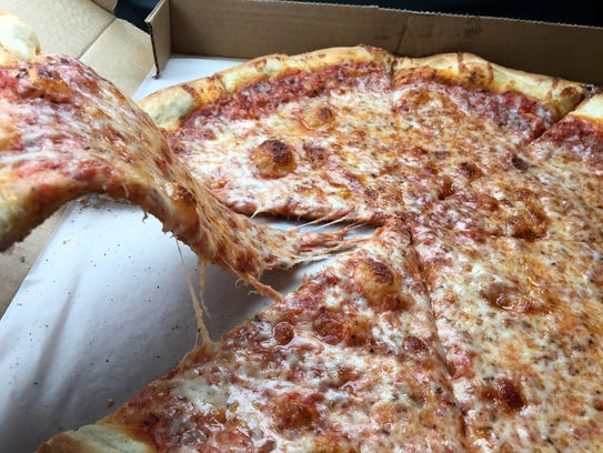 A cheese pizza from Salvatore's New York Pizza in Cape