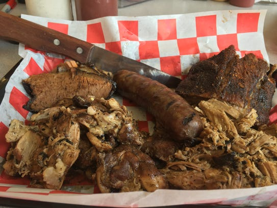 The five-meat sampler at Brian's Smokehouse and BBQ