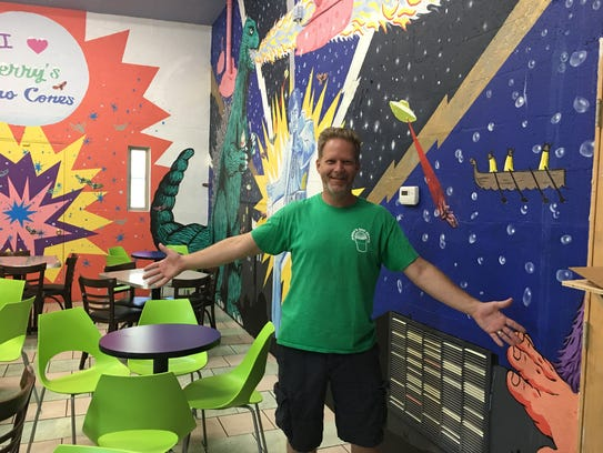 David Acklin, owner of Jerry's Sno Cones, opens an
