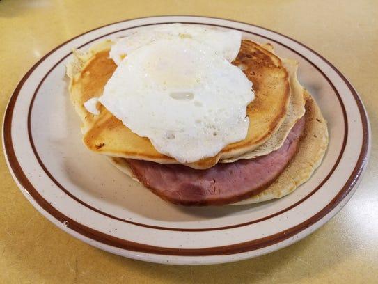The pancake sandwich from Bill's Corner Café in Sheboygan.