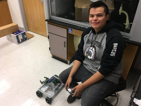 Mescalero sophomore Cedric Barcus hopes his robot design
