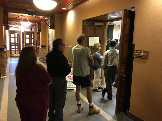 A line formed early on Tuesday as voters stopped in