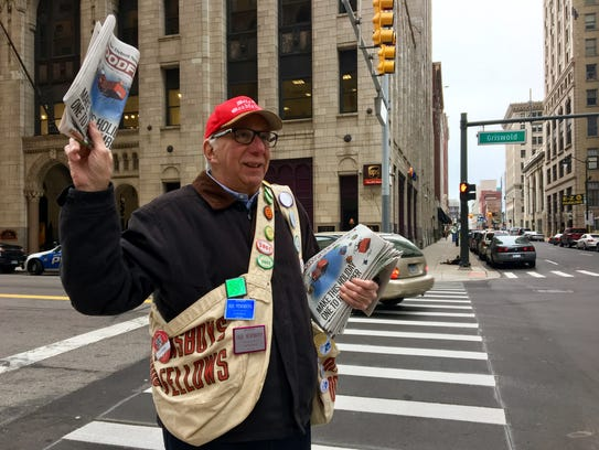 Barry Grant, 72, wears a Goodfellows newspaper bag