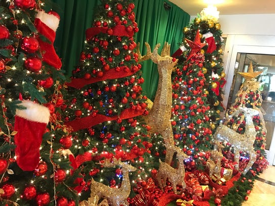 Holiday decorations brighten the lobby at the Hilton