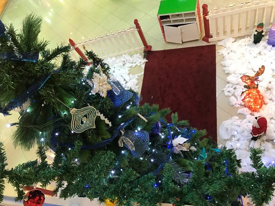 A top-down view of the Christmas tree at Agana Shopping