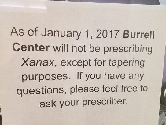 Signs like this are posted at Burrell Behavioral Health