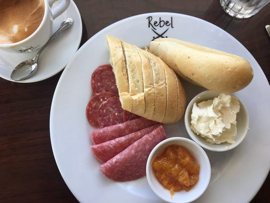 The German breakfast and a cappuccino from Rebel Coffee