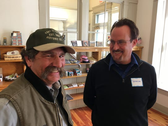 Larry Pope, left, of the Fort Stanton historic site