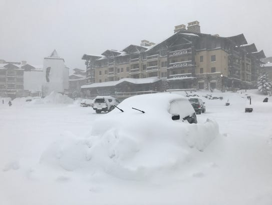A view of the village at Squaw Valley Ski Resort after