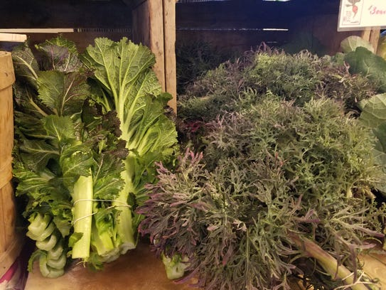 Greens are available at winter markets in Asheville.