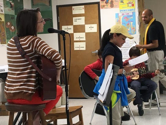 Megan Brown, left, practices with Myrtle Place Elementary