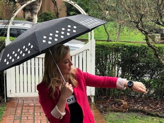 Jen watch testing in the rain