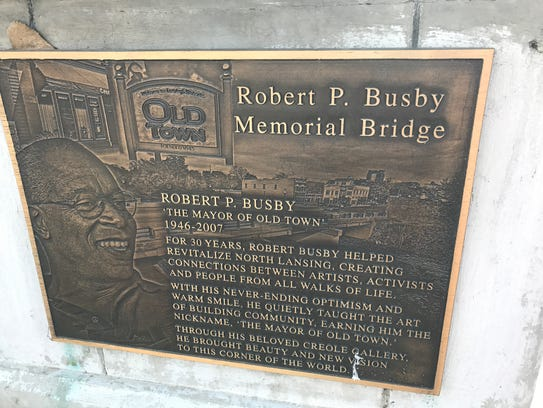 A plaque on the bridge in  Old Town honors Robert Busby,