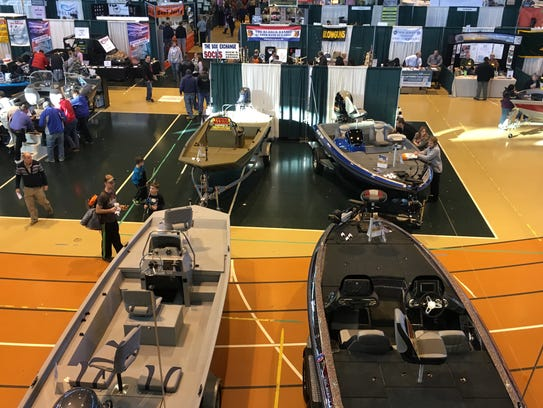 Boats are for sale during the weekend hunting and fishing