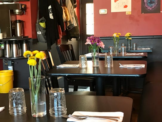 During a spring 2017 brunch, the tables at The Owl