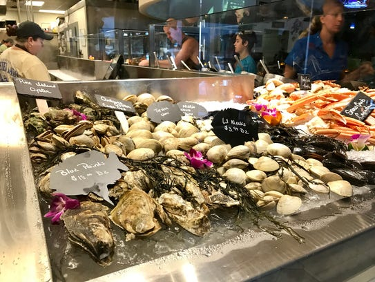 Oysters and clams from the new seafood case at Lobster