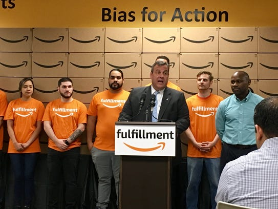 Gov. Chris Christie, seen at the Amazon fulfillment