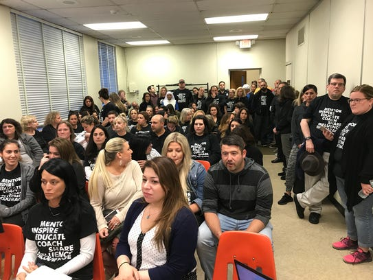 More than 75 Lodi teachers attended a school board meeting in April to protest working under expired contract terms.