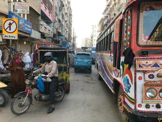 Traffic at a standstill at a crowded road in Karachi,